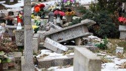 Zniszczone nagrobki na cmentarzu w Olsztynie