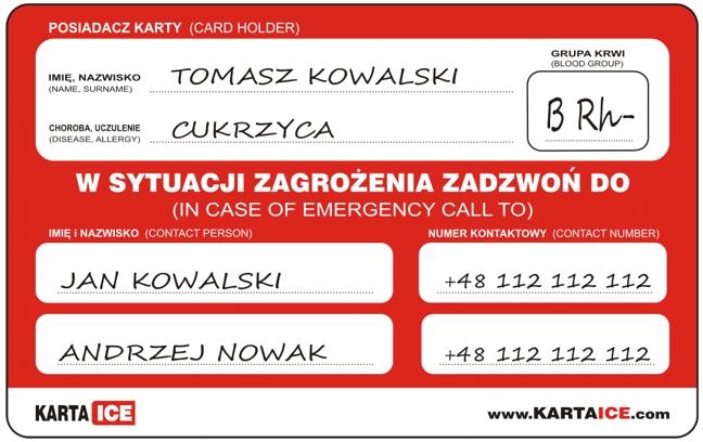 Karta Ice Moze Uratowac Nasze Zycie Radio Olsztyn