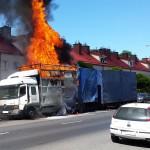 Pożar ciężarówki w Olsztynie