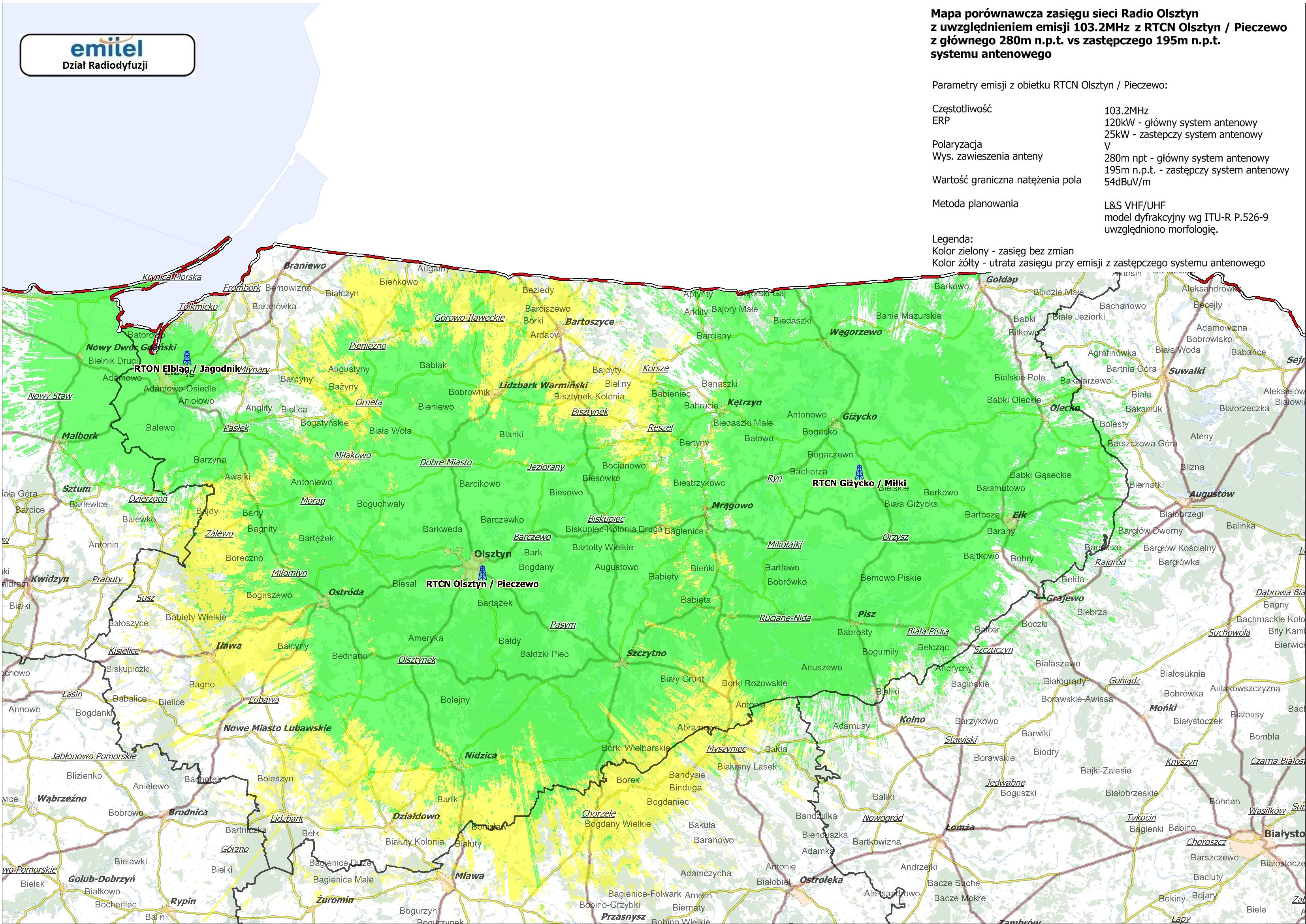 Mapa Zasiegu Radio Olsztyn