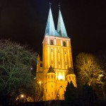 Były kościół garnizonowy w Olsztynie został podświetlony
