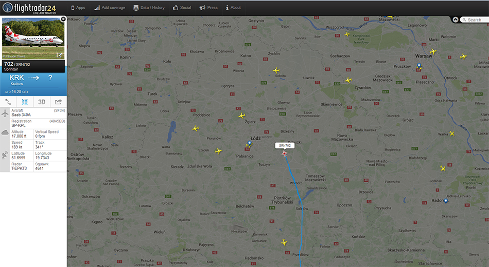 Pozycja samolotu lecącego z Krakowa do Szyman ok godz. 17-tej