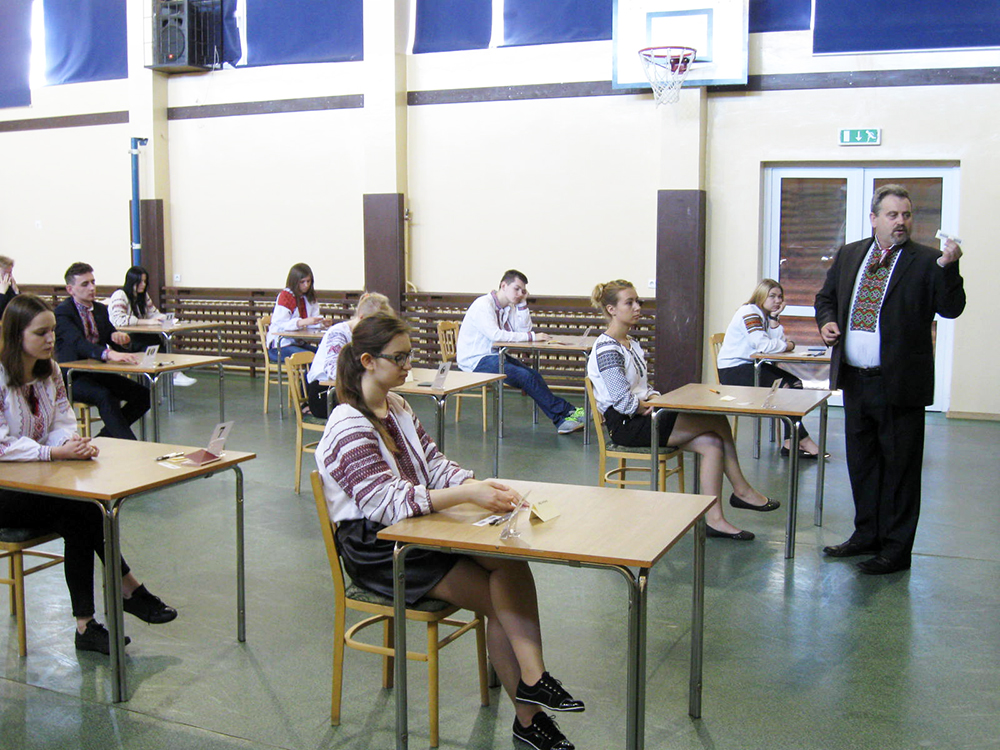 Egzamin maturalny z języka ukraińskiego w Zespole Szkół z ukraińskim językiem nauczania Górowie Iławeckim, fot. Serhii Petrychenko