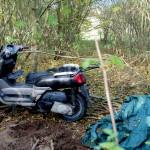 Skuter zakopany w ziemi, rower wisiał na drzewie
