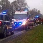 Wypadek na DK 65 – samochód wjechał do rowu