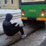 Na sankach za tramwajem, czyli ekstremalny kulig w Elblągu