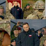 Na poligonie w Bemowie Piskim prezydent Andrzej Duda powitał żołnierzy z batalionowej grupy NATO