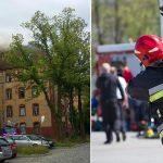 Pożar opuszczonego budynku po dawnej jednostce wojskowej na olsztyńskim Zatorzu