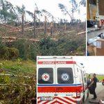 Ratownicy PCK z Olsztyna pomagają poszkodowanym przez nawałnice mieszkańcom Pomorza