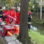 Strażacy uratowali życie 40-latka, który wpadł do rzeki Łyny
