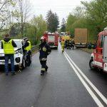 Wypadek czterech samochodów na drodze krajowej nr 15