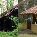 Zniszczona leśna chata z Puszczy Boreckiej została zrekonstruowana