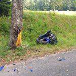 Motocyklista zderzył się z sarną na drodze pod Giżyckiem. Zginął na miejscu