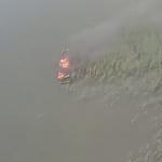 Pożar motorówki na Jeziorze Mamry. Rozbitków uratowali inni żeglarze