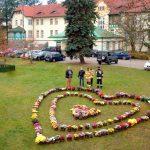 Serce z kwiatów przed szpitalem w Szczytnie. To specjalne podziękowanie za walkę z pandemią