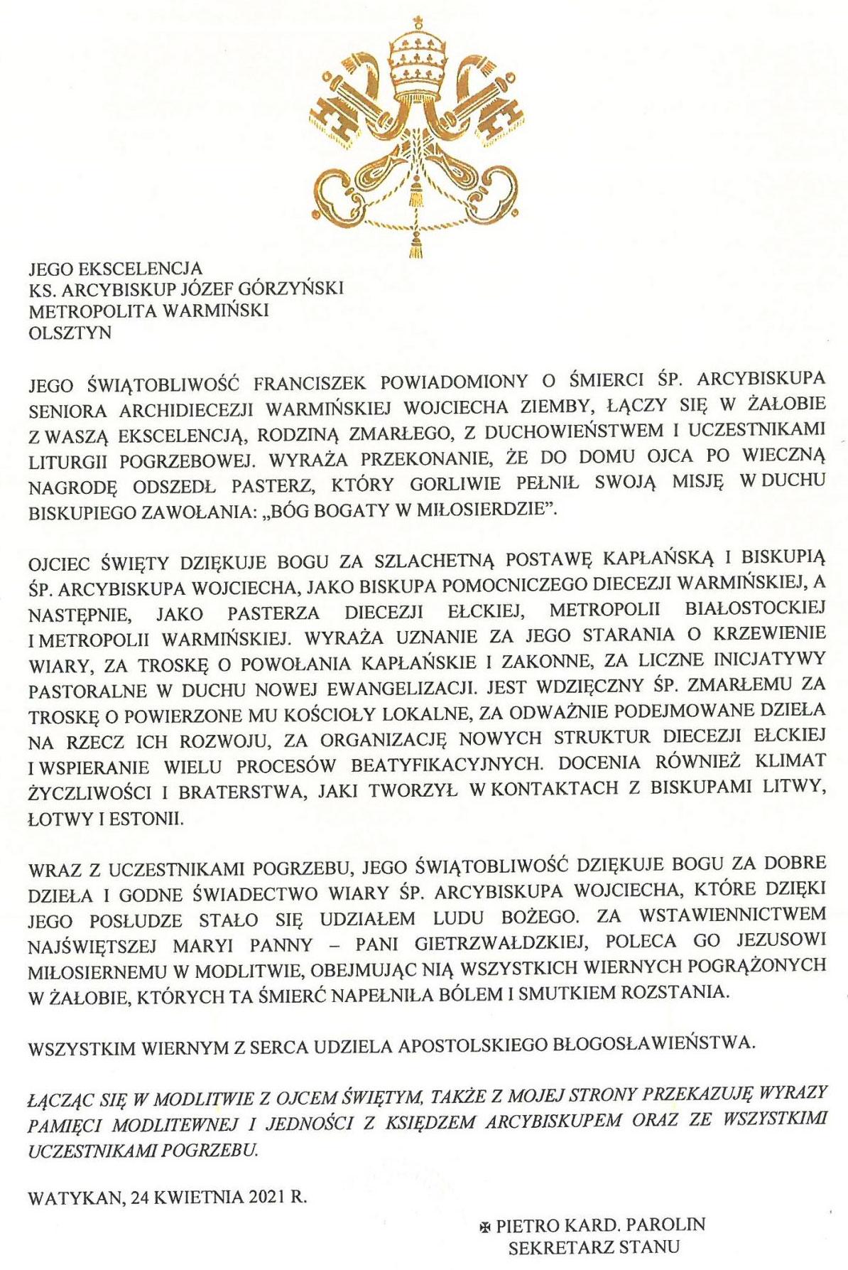 telegram papieża Franciszka