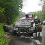 Na wyjeździe  z Olsztyna zapaliło się osobowe auto